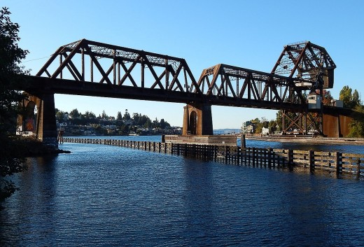 Salmon Bay railway drawbridge over the Lake Washington Ship Canal, near the Hiram M. Chittenden Locks in Seattle, WA