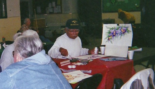 One of my classes at a senior center.  Men and women painted with me.