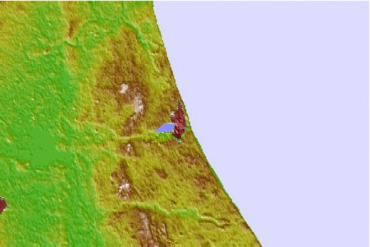 A topographic map of the coast shows erosion on the low, soft clay cliffs - annually the coast recedes by several feet