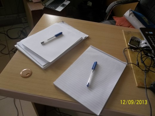 Pen and paper for writing