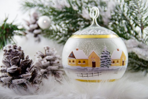 Painted works of art such as this Christmas ornament are one of many ideas when working with glass.