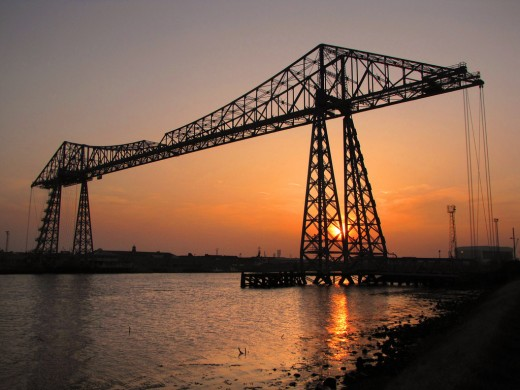 "The Tees icon, the Transporter Bridge featured in the comedy TV series ""Auf Wiedersehen Pet"" about a bunch of Englishmen men back from rebuilding the Ruhr cities to dismantle this bridge... It's still where it belongs!"