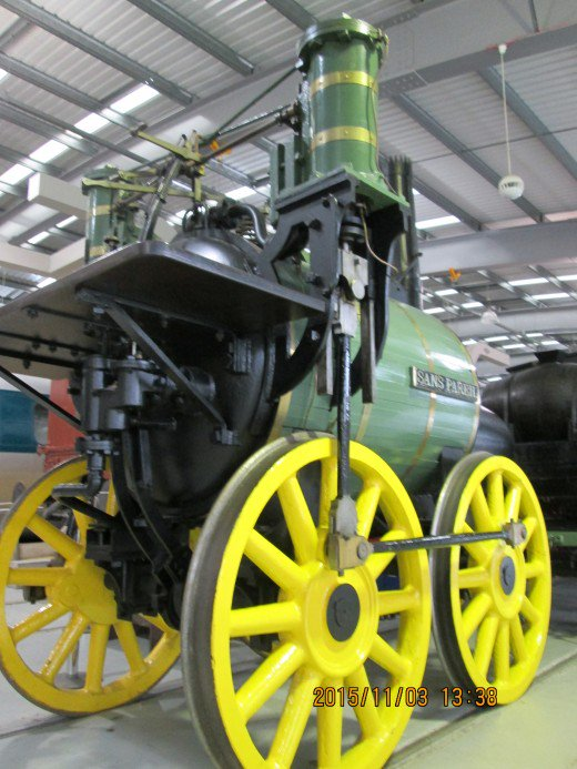 Timothy Hackworth's 'Sans Pareil' was a contender for the Rainhill Trials won by George Stephenson's 'Rocket' - Hackworth entrusted his loco to Stephenson to transport to Liverpool - see below