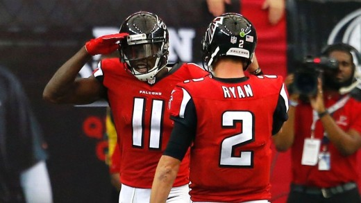 Julio Jones (L) and Matt Ryan (R) lead the Atlanta Falcons offense
