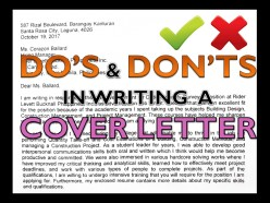 Do's and Don'ts in Writing a Cover Letter