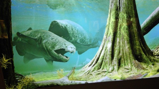 Placoderm fish grew to 30 feet long, 4 tons and the first to have a hinged jaw,