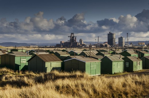 The fishermens' huts close by South Gare with Warrenby steel works close by