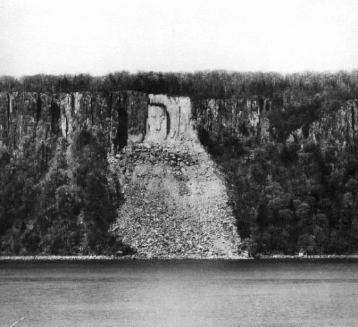 Hitler's Face on the New Jersey :Palisades taken from the Hudson River by the Yonkers Ferry Corporation.