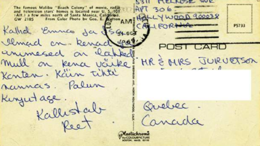 The last postcard Reet Jurvetson sent her parents in Canada in 1969.