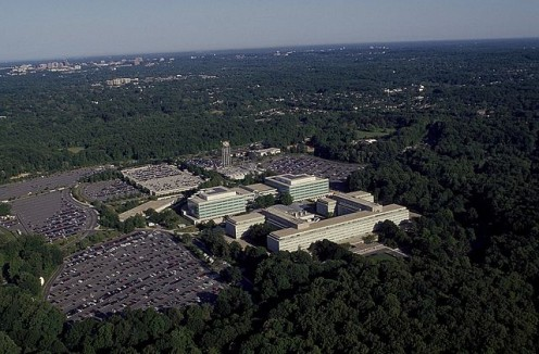 Aerial view of CIA headquarters located in Langley Virginia.