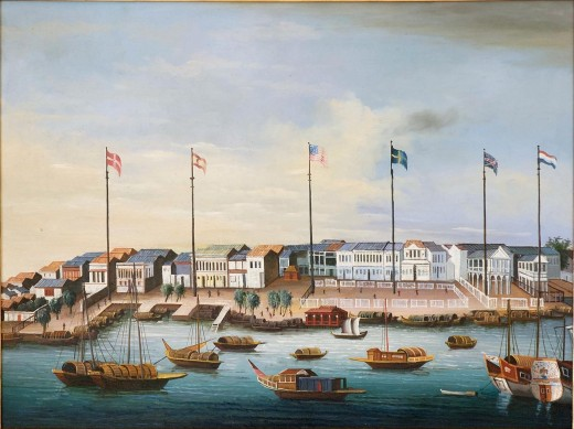 Danish and Swedish flags both fly at Canton in the 1820s, although changes in the political economy of tea in Europe had somewhat circumvented their East India Companies at that point.