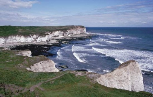 The chalk cliffs at Flamborough Head, sculpted by wind and tide over centuries