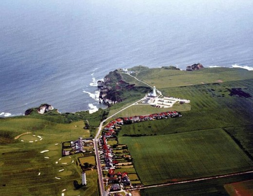 Aerial view of Flamborough Village looking seaward