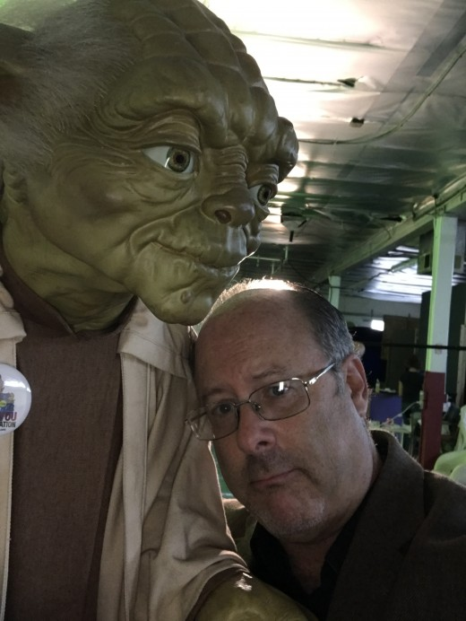Consulting with my lord and savior, on a set at Geek Nation Studios.