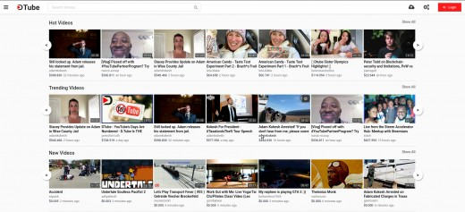 The Dtube home page.