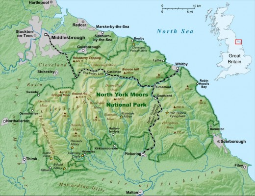 The North Yorkshire Moors National Park map shows the main communications. Roseberry Topping is marked near the top left of the park area