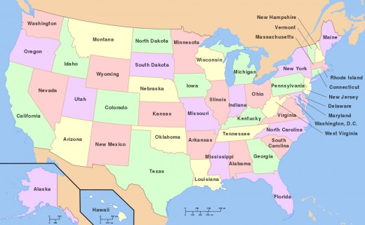 Map of the USA with state names
