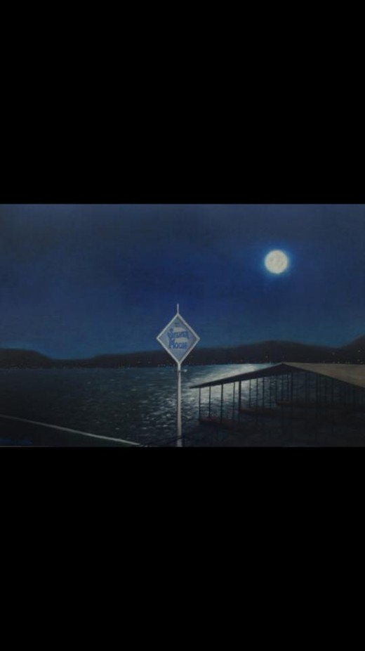 Full Moon on Silver Moon-This is one of Beth Coulter's larger paintings.  It hangs over the lake facing wall at my friend's father's house sitting on Lake of the Ozarks.