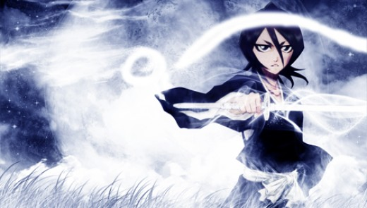 shinigami Rukia with her katana : Sode no Shirayuki (袖白雪, Sleeve of the White Snow)