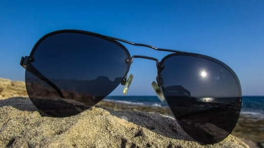 Sun glasses are essential to guard against the rays of the sun and the occasional blinding glare from the brightness of the sand.