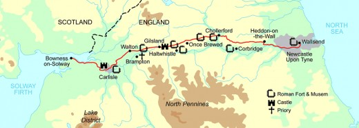 Coast-to-coast across north Northumberland, Hadrian's Wall stretches from Wallsend near Newcastle-upon-Tyne in the east, Carlisle and  Solway Firth in the west, facing the Irish Sea