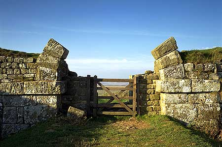 The base stones of a milecastle gateway put into use with a modern iron gate