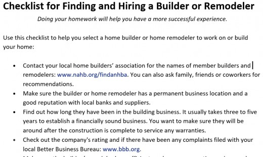 Useful checklist from the National Association of Home Builders (NAHB).