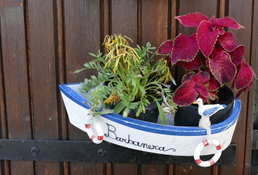 An arrangement of assorted flowers and leaves in a toy boat. Use your imagination for interesting containers.