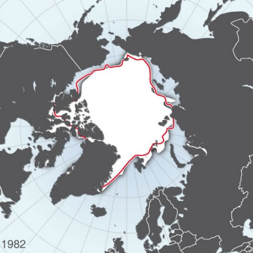 Artic sea: minimum extent of ice in 1982
