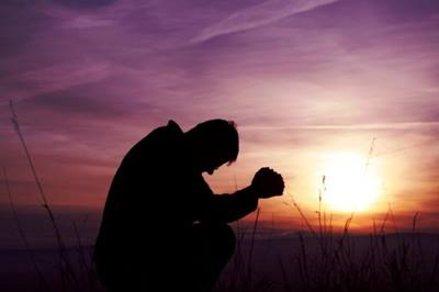 Man realizes he can't handle things on his own. Therefore, he prays.
