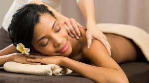 Woman is getting a massage to eliminate stress from her body.