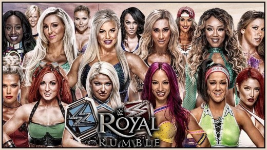 "Promotional poster for this year's inaugural Women's ""Royal Rumble"" match."