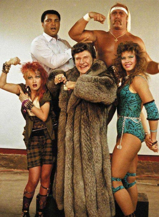 "Lauper, Richter and friends, in a promo shot for the inaugural ""Wrestlemania"""