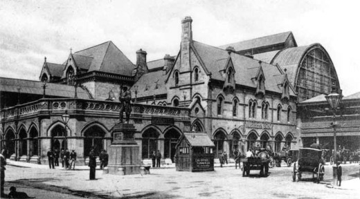 Thomas Prosser's 1877 Middlesbrough Railway Station for the North Eastern Railway included an overall roof, seen here a little later that century, and was built the same year as his grander York station, which suffered heavily at the same time as..,