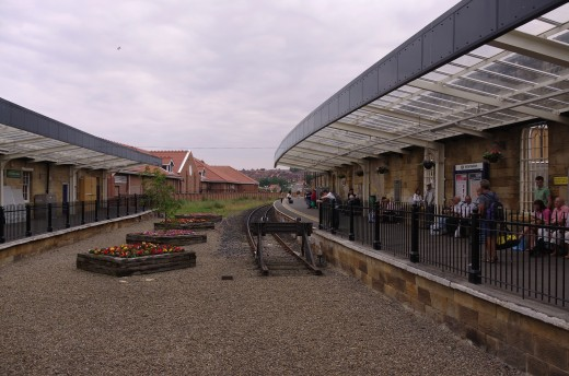 2004, the much changed Whitby Town Station - within a decade steam workings would reach here from Pickering on the NYMR, and a new platform added by the NYMR the left  backing onto the Co-operative supermarket on the left in the middle-distance