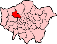 Map location of London Borough of Brent