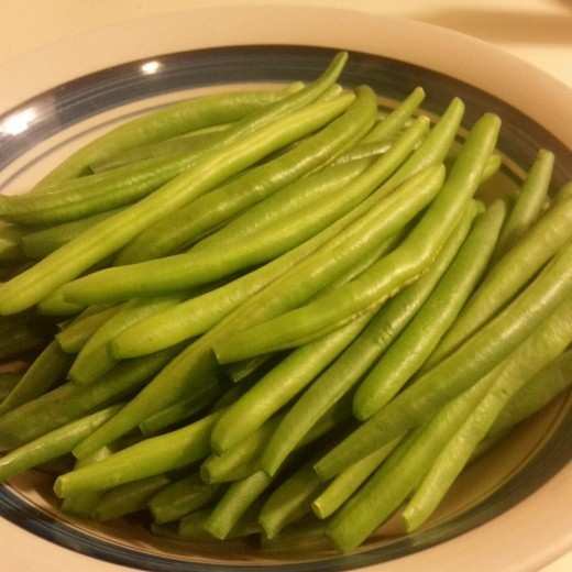 Bright green fresh green beans
