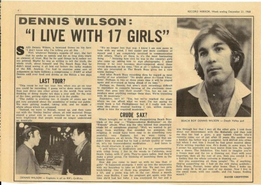 Interview with Dennis Wilson during 1968, while Manson Family was residing with him.