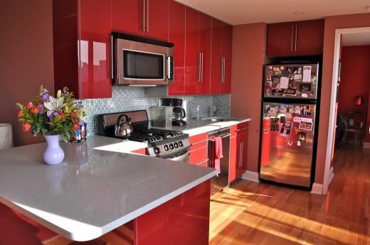 A modern, colourful kitchen