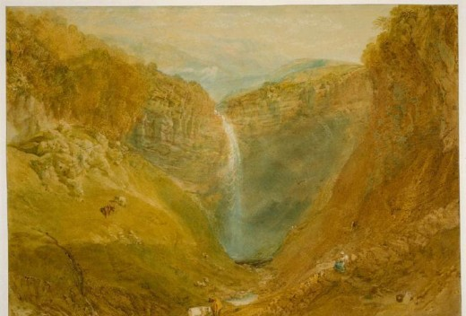 Turner's colour sketch of Gordale Scar is heavy on atmospherics if nothing else. In all the times I've been here it's never been this colour - otherwise a fine painting, liberally applying artistic licence