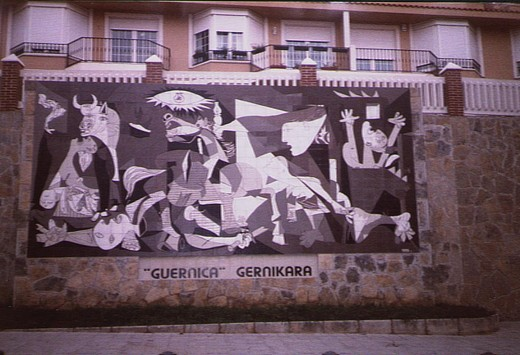 """The mural of the Painting Guernica by Pablo Picasso.It is called an"""" inconvenient masterpiece"""". The tapestry of Guernica at Whitechapel Gallery was returned to the UN in 2015"""