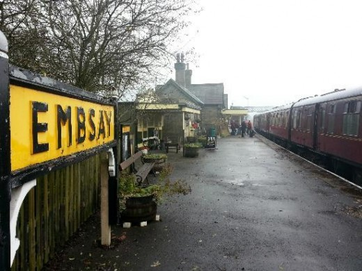Embsay Station, view along the platform shows a traditionally painted station sign