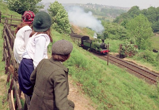 A scene during the making of the feature film 'The Railway Children' (penned by E Nesbitt) during 1970
