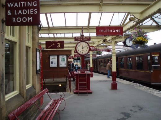 """Keighley station at the north-eastern end of the line - the site was used during the making of the film """"Yanks"""" staring Richard Gere, depicting the station setting as 1944, US troops leaving for embarkation pre-D-Day"""