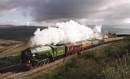 The 50th Peppercorn Pacific class A1 built at Darlington hurries along with a passenger special on the Settle & Carlisle Railway