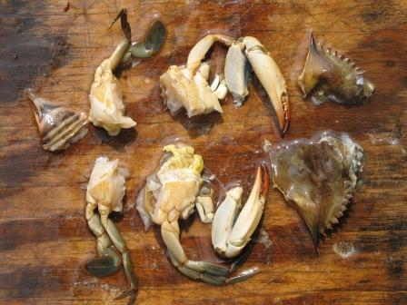 peeler crab - cut for fishing bait