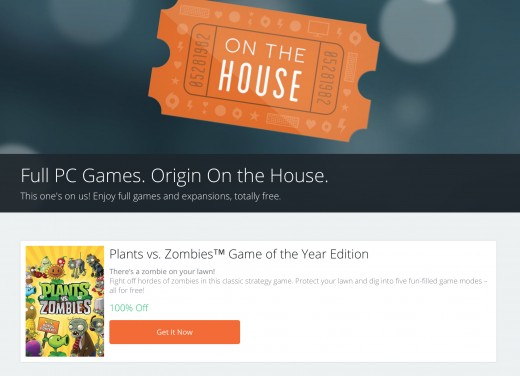 "Origin ""On the House"" promotion"