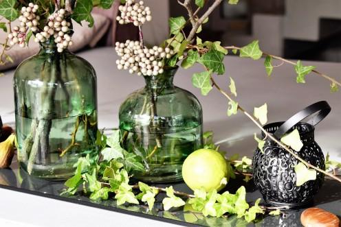 Using foliage to make an arrangement.
