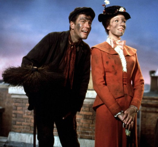 "The magical Dick Van Dyke and Julie Andrews in Disney's masterpiece, ""Mary Poppins"""
