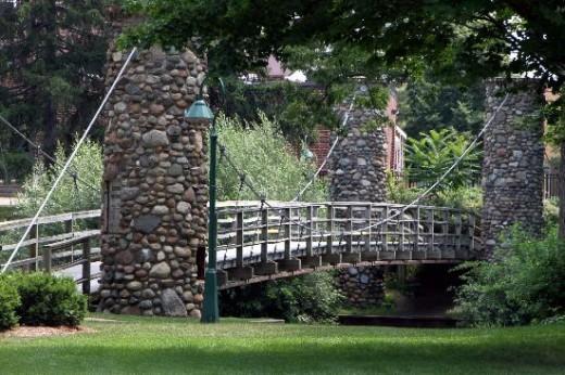 Suspended footbridge over Shiawassee River